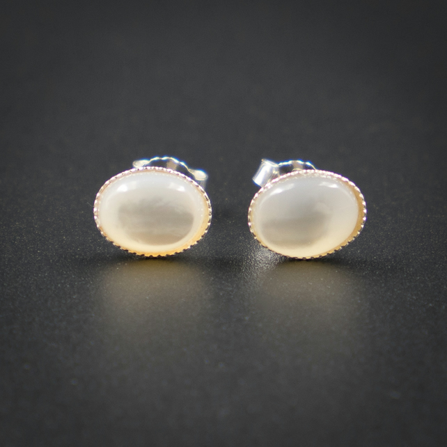 Cream mother of pearl   and sterling silver stud earrings