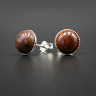 Brecciated Red jasper sterling silver stud earrings,  Pisces, Aries jewellery