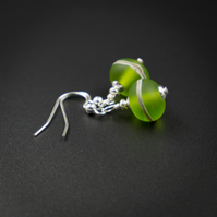 frosted lime green and sterling silver lampwork earring drops.