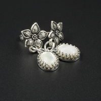 Cream mother of pearl and antique silver flower earrings