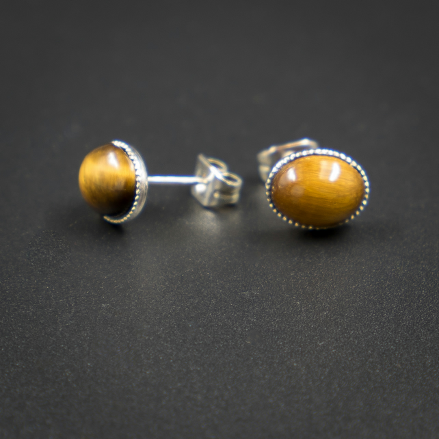 Tiger eye sterling silver stud earrings, Capricorn jewellery