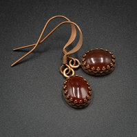 Carnelian and copper boho earring drops, Carnelian and copper jewelry