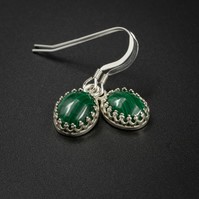 Malachite and silver gemstone earrings , Scorpio , Capricorn jewellery
