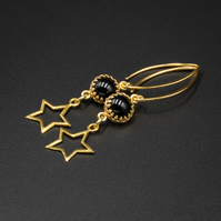 Black onyx and vermeil gold star drop earrings, Leo gift