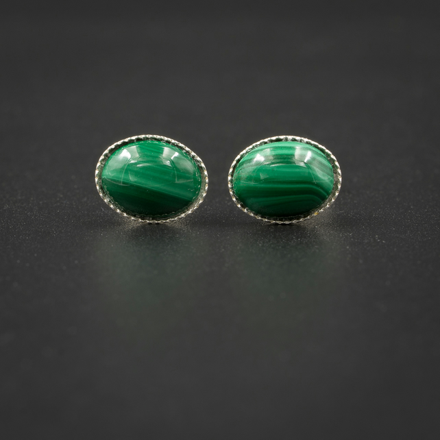 Malachite and silver gemstone stud earrings , Scorpio , Capricorn jewellery