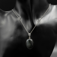 Black striped agate and sterling silver pendant necklace