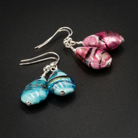 Venetian Murano glass pink , turquoise and sterling silver teardrop earrings