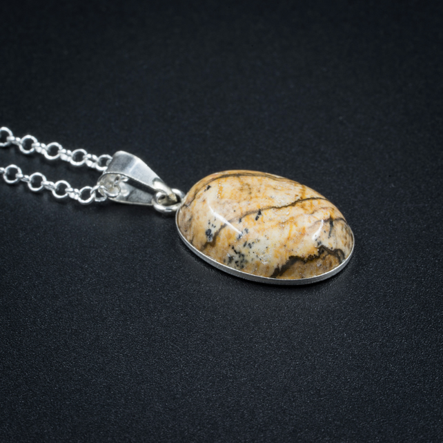 Picture Jasper and sterling silver pendant, Jasper and silver jewelry