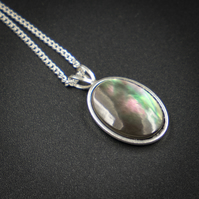 Black lip shell sterling silver pendant necklace, shell jewellery