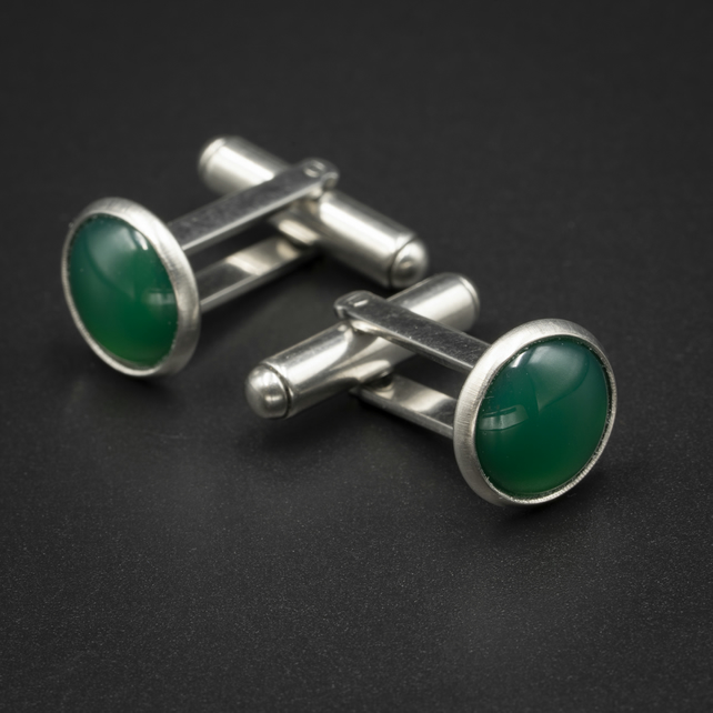 Green onyx and stainless steel cufflinks, Leo gift