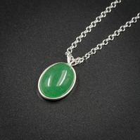 Green Aventurine, sterling silver pendant necklace,  Gemini, Virgo jewellery