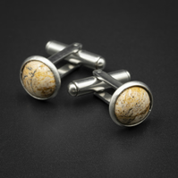 Picture jasper and stainless steel cuff links, Pisces, Aries gift