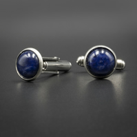 Sodalite and stainless steel cufflinks, Sagittarius gift