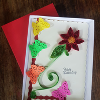 Handmade Quilling Greeting Birthday Card with Flowers