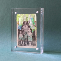 Altered Vintage Family Photography Art Collage Decorated With Neon Tape