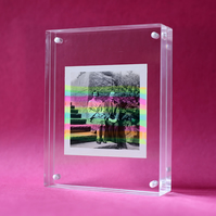 Vintage Couple Portrait Collage Art Altered With Neon Rainbow Colours