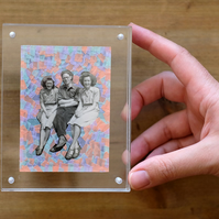 Vintage Group Photograph Altered With Pastel Washi Tape