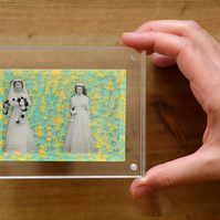 Funny Vintage Wedding Photo Altered With Tape