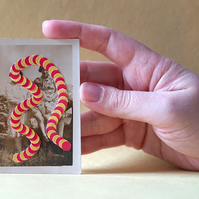 Tiny Vintage Art Altered With Dotty Paper Cuts