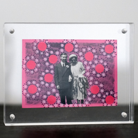 Pink Art Collage On Vintage Couple Portrait Photography