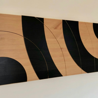 'Orbit' with Black Centres. Handmade Modern Abstract Wooden Wall Art.