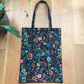 Black Floral Herb Garden Amalfi Collection Canvas Tote Bag - Rifle Paper Co.