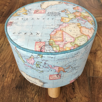 World Map Travel Small Footstool