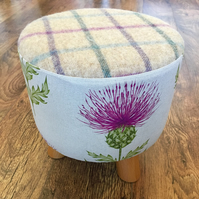 Pink Thistle Small Footstool with Fluffy Wool Top