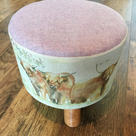 Highland Cow Small Footstool with Lilac Wool Top