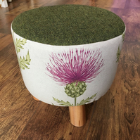 Pink Thistle Small Footstool with Green Wool Top