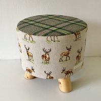 Stag and Green Tartan Wool Small Footstool