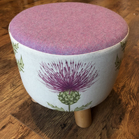 Pink Thistle Small Footstool with Pink Wool Top