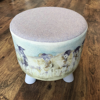 Watercolour Sheep Small Footstool with Lilac Wool Top & Chalk Painted Legs.