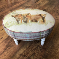 Scottish Highland Cow Oval Footstool with Plaid Wool Sides