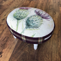 Scottish Watercolour Thistle Oval Footstool with Purple Plaid Wool Sides