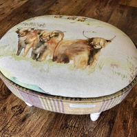 Watercolour Highland Cow Oval Footstool with Plaid Wool Sides
