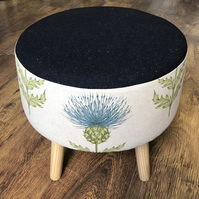 Blue Thistle Large Footstool with Navy Speckled Wool Top