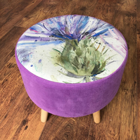 Vibrant Purple and Watercolour Thistle Large Footstool