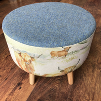 Harris Tweed and Watercolour Highland Cow Large Statement Footstool