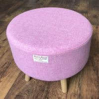 Scottish Pink Harris Tweed Large Statement Footstool