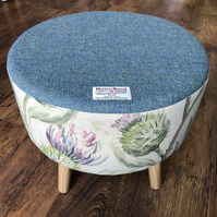 Watercolour Thistle and Blue Harris Tweed Large Footstool