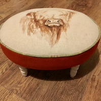 Highland Cow Oval Footstool with Vibrant Orange Wool