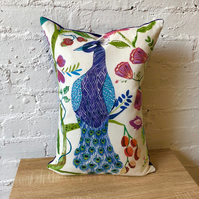 Vibrant Peacock and Purple Velvet Handmade Cushion