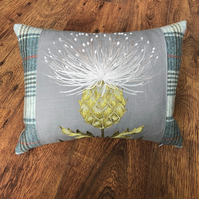 Embroidered Silver Thistle and Wool Plaid Cushion
