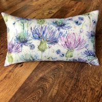 Watercolour Scottish Thistle Cushion with Blue Wool Back