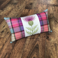 Vibrant Pink Thistle and Wool Tartan Cushion with Purple Back