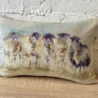 Watercolour Sheep Cushion with Natural Wool Back