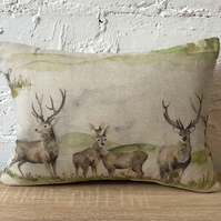 Stag Watercolour and Natural Wool Back Cushion