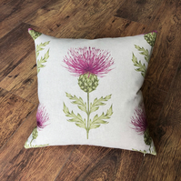 Square Pink Thistle Cushion with Lilac Wool Back