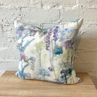 Handmade Watercolour Cushion with Blue Wool Back.